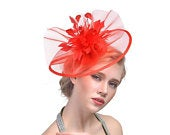Red Crin Ruffle Disc Fascinator With Feather Flower Occasion Wedding Races