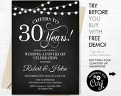 30th Wedding Anniversary Party Invitation INSTANT DOWNLOAD Editable Digital Template. Any Years of Marriage. Chalkboard White. DIY
