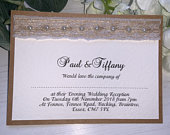 Rustic Wedding Invites Hessian with Vintage Lace Pearls The Rustic Collection