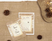Rustic Save The Date Card A6 Burlap And Lace