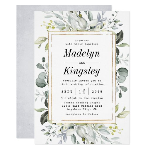 Dusty Blue and Gold Elegant Rustic Floral Wedding Invitation