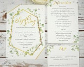 Gold Botanical Wedding Invitation, invite , spring, summer, glam wedding, rsvp, flowers, woodland, recycled, rustic, greenery