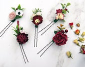 Burgundy Hair Pins, Flower Hair Pins, Marsala Rustic Hair Pins