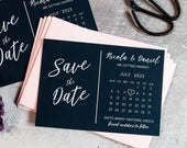 Calendar Save the Date Black Cards Postcard, Printed with White Ink, Modern Wedding Invites Invitations FREE envelopes