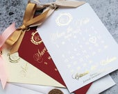 Save the Date calendar , Wedding save the date card, Gold Foil save the date Calendar tag Wedding invitations Foil invitations.