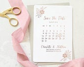 Save the date cards, wedding save the dates, foil save the date calendar cards, foil save the date card, floral save the date card.