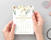Blush pink gold save the date calendar cards, printed A6 cards with white envelopes STYLE 1
