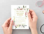 Blush pink gold save the date calendar cards, printed A6 cards with white envelopes STYLE 5