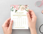Blush pink gold save the date calendar cards, printed A6 cards with white envelopes STYLE 2