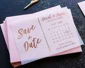 Foil Vellum Calendar Save the Date Cards Postcard, Modern Wedding Invites Invitations ( Gold, Rose Gold, Silver Foil ) FREE envelopes