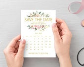 Blush pink gold save the date calendar cards, printed A6 cards with white envelopes STYLE 4