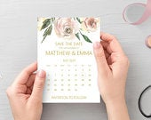 Blush pink gold save the date calendar cards, printed A6 cards with white envelopes STYLE 3