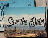 Desert Save the Date Wedding Invitation, vintage postcard save the date, cactus save the date, retro save the date, 1970s postcard, blue sky