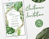 Tropical Wedding Invitations, Electronic Invitations, Beach Themed Wedding Invitations, Electronic Save the Date, E Invitations