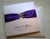 Bayswater Purple Pocket Wedding Invitation with Crystal Starfish. Beach Wedding Invitation. Includes RSVP card and Reply Envelope.