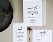 Wedding Suite Invitation Template, Simple and Elegant Calligraphy, Fully Editable Text, Invite 5x7 RSVP 4x6 5x3.5 0901