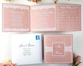 Blush Lace Wedding Invitations With Envelopes, Trifold Wedding Invitation or Reception Invites WIth Menu Options Guest Info