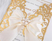 Gorgeous Gold Mirror Lace Laser Cut Wedding Invitation, Gold Mirror Wedding Stationery, Foil Invitation, Metallic Invitations, Gold Metallic