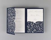 DIY Navy Blue Wedding Invitations with Envelopes Set Lace Laser Cut, Main Invitation, Day, Evening Invite, RSVP, Wishes
