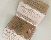 Lace Rose Concertina Invitation Invites Personalised Invitations Wedding Invites