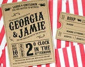 Kraft Vintage Style Carnival, Circus Themed Wedding Invitation, Ticket Set, Marquee Wedding Invitation