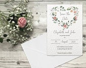 10 Save the Date Cards, Printed Personalised Wedding Invitations with Envelopes, Floral Vintage