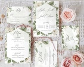 RACHEL White Roses Wedding Invitations, Acrylic Wedding Invitations, Cream Wedding Invitations, Vintage Wedding Invitations