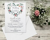 Wedding Invitations, Printed Personalised Wedding Invites, RSVP Card, Money Poem, Information, Cheap Wedding Invitations, Floral Vintage