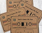Wedding Song Request Cards Personalised Kraft with Colour Vintage Retro Fun Game Patterned Custom Cassette Music invitation