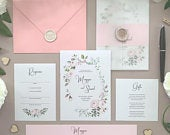 Floral Wedding Invitation Suite, Pink Wedding Invitation Suite, Country Wedding Invitation, Vintage Wedding Invitation, Royal Oak Sample
