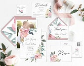 Wedding Invitation Bundle, Printable Editable Template Corjl, Set Kit, Mauve Greenery, Nude Watercolor Floral, with Photo, LDS Wedding, MN12