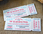 20 Wooden Save the Date Vintage Ticket Magnets, Birch plywood printed magnet tickets, personalised with your wedding details