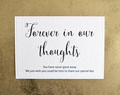 Wedding Memorial Sign Forever in our thoughts 260gsm Hammer Card