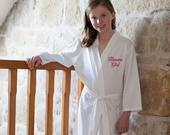 Childrens Jersey Dressing Gowns in White, Mini Bridesmaid, Wedding Flower Girl Robe, 3 13 years, Choose Any Text