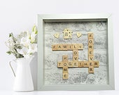 Family Frame, Scrabble Family Frame, Family Picture, Family Frame Print, Family Scrabble Letters, Personal Gift, Family Tree, Home Decor