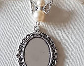Wedding Bouquet Photo Charm Bridal Silver Memory Oval Photo Frame Locket Pendant Charm and angel with 2 ivory pearls Organza Gift Bag