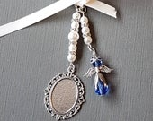 Wedding Bouquet Charm, bridal bouquet charm, Photo Frame Charm, Oval Silver Locket, blue angel charm, glass cover organza gift bag
