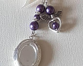 Wedding Bouquet Photo Charm Bridal Photo Frame Silver Oval Photo Locket and Angel Charm with Purple Pearl Beads and Gift Bag