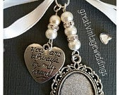 Beautiful Wedding Bouquet Photo Charm Photo Frame Silver Pendant Locket and Heart Charm Gift Bag