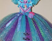 Handmade Girls Ariel Little Mermaid Disney Princess Pageant Ball Gown Glitter Sparkle Party Tulle Tutu Dress