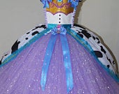 Handmade Girls Cowgirl Jessie Toy Story Lilac Purple and Blue Pageant Ball Gown Glitter Sparkle Party Tulle Tutu Dress