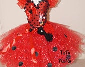 Handmade Girls Red Black Disney Minnie Mouse Pageant Ball Gown Glitter Sparkle Party Tulle Tutu Dress