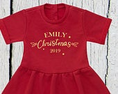 Personalised Childs Christmas Dress, Childs Christmas Dress, Kids Christmas Outfit, Christmas Gift, Girls Red Dress, Gold Kids Xmas