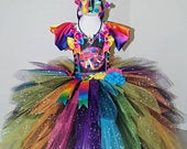 Handmade Girls Trolls 2 Princess Poppy and Queen Barb Pageant Ball Gown Glitter Sparkle Party Tulle Tutu Dress