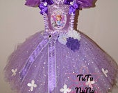 Handmade Girls Disney Princess Sofia the First Pageant Ball Gown Glitter Sparkle Party Tulle Tutu Dress