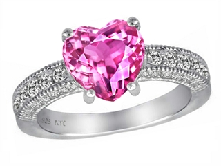 Star K™ 8mm Heart Shape Created Pink Sapphire Ring