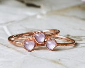 Pink moonstone heart ring heart crystal ring stone ring stacking ring electroformed copper ring raw crystal ring