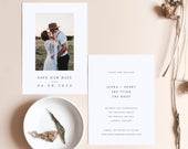 DoubleSided Minimal Photo Save the Date Template, Downloadable, Printable Save the Date, 100% Editable, Instant Download, DIY, Templett