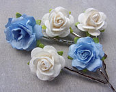 Blue Ivory Rose Hair Pins, Rose Bobby Pins, Flower Girl Clips, Cornflower Blue, Rose Slides, Flower Clips, Bridal Hair Pins, Blue Wedding