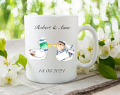 Mallard Ducks Mug, Personalised Wedding Gift for Bride and Groom, Coffee Cup Ceramic, Ducks in Clothes, Personalized Mugs for Couples, Love